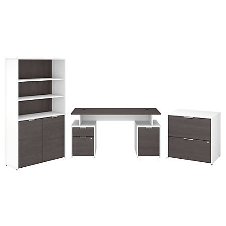 "Bush Business Furniture Jamestown 60""W Desk With Storage, File Cabinets And 5-Shelf Bookcase, Storm Gray/White, Premium Installation"
