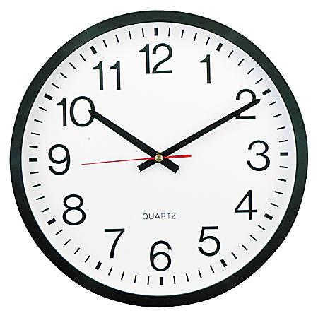 "Universal Round Wall Clock, 12 5/8"", Black"