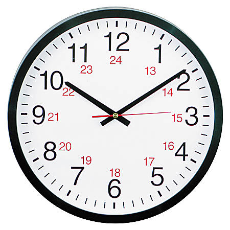 "Universal 24-Hour Round Wall Clock, 12 5/8"", Black"