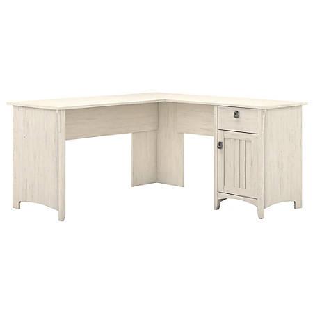 Bush Furniture Salinas L Shaped Desk - Bush Furniture Salinas L Shaped Desk With Storage Antique White
