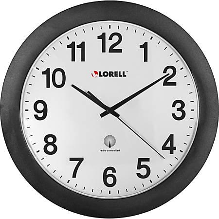 "Lorell® 12"" Round Radio Controlled Wall Clock, Black"