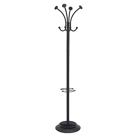 Alba Four Double Peg Coat Stand - 8 Pegs - for Coat, Clothes - Black - 1 Each