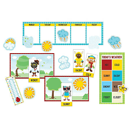 Carson-Dellosa Hipster Weather Mini Bulletin Board Set, Multicolor, Grades K-2
