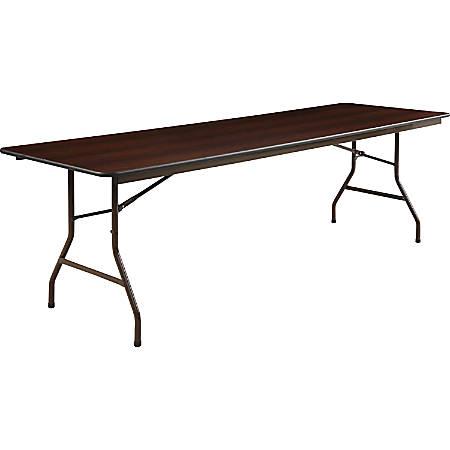 Lorell® Laminate Economy Folding Table, 8'W, Mahogany