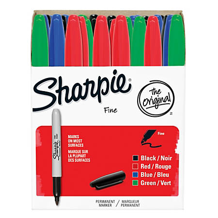 Sharpie® Permanent Fine-Point Markers, Assorted Colors, Pack Of 36