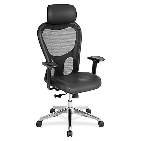 Lorell® Executive Leather/Mesh High-Back Chair, With Headrest, Black
