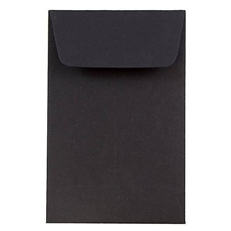 "JAM Paper® Open-End Coin Envelopes, #1, 2 1/4"" x 3 1/2"", Black, Pack Of 25"