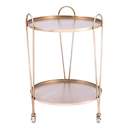 Zuo Modern Trebede 2-Shelf Steel Bar Cart, Gold