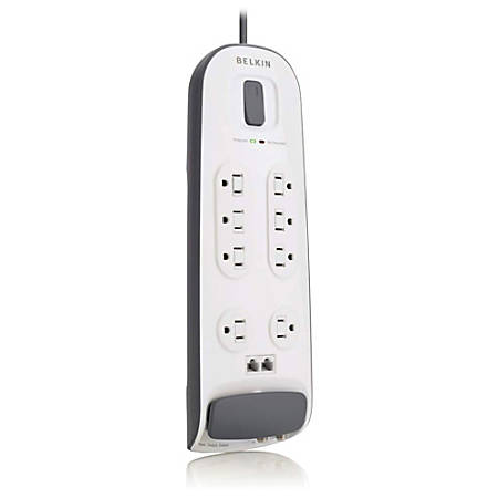 Belkin® 8-Outlet Surge Protector With 6' Power Cord With Telephone Protection