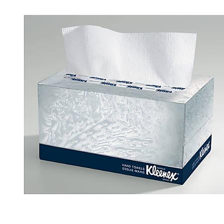 "Kleenex Boxed Hand Towels, 9"" x 10.50"", White, 120 Sheets Per Box, Carton Of 18"
