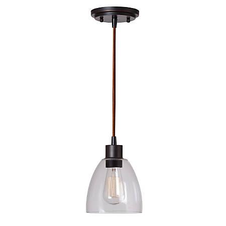 "Kenroy Edis 1-Light Mini Hanging Pendant, 8""H, Clear Shade/Oil-Rubbed Bronze Finish"