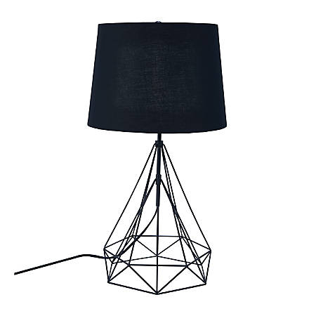 "Southern Enterprises Jillson LED Metal Table Lamp, 25-1/4""H, Black Shade/Black Base"