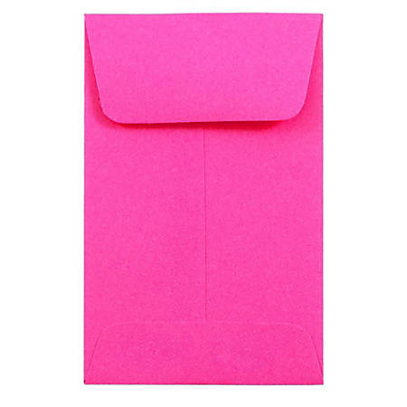"JAM Paper® Open-End Coin Envelopes, #1, 2 1/4"" x 3 1/2"", Fuchsia Pink, Pack Of 25"