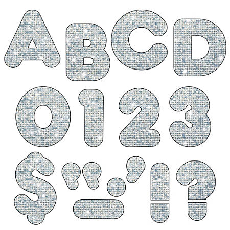 "TREND Ready Letters®, Casual, 3"", Silver Sparkle, Pre-K - Grade 12, Pack Of 124"