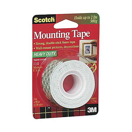 "Scotch® Foam Mounting Tape, 1"" x 50"", White"