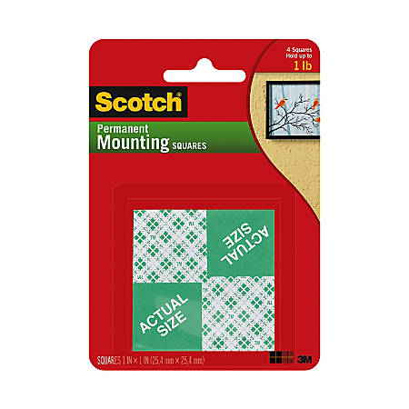 "Scotch® Permanent Foam Mounting Squares, 1"" x 1"", Pack Of 16"