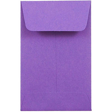 "JAM Paper® Open-End Coin Envelopes, #1, 2 1/4"" x 3 1/2"", Purple, Pack Of 25"