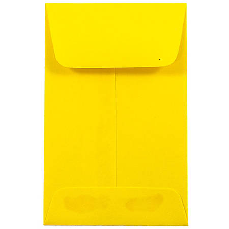 "JAM Paper® Open-End Coin Envelopes, #1, 2 1/4"" x 3 1/2"", Yellow, Pack Of 25"