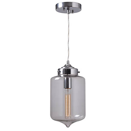 "Kenroy Casey 1-Light Hanging Pendant, 13""H, Clear Shade/Chrome Finish"