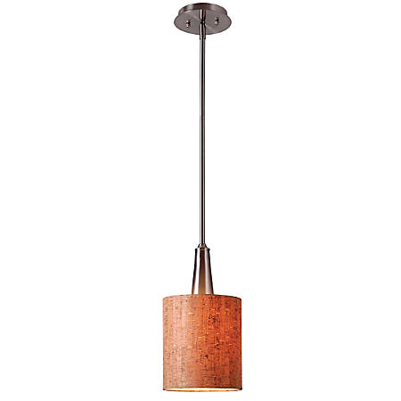 "Kenroy Bulletin 1-Light Mini Hanging Pendant, 11""H, Natural Cork Shade/Brushed Steel Finish"