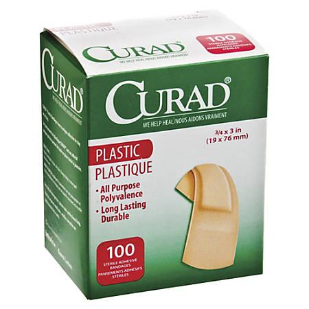 "Medline Plastic Adhesive Bandages, 3/4"" x 3"", Neutral, Box Of 100"