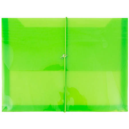 "JAM Paper® Plastic Booklet Envelope With Bungee Closure, Letter-Size, 9 3/4"" x 13"", Lime Green"