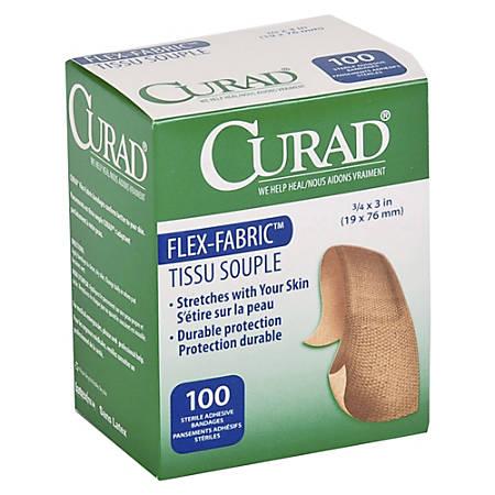 "Medline Comfort Cloth Adhesive Fabric Bandages, 3/4"" x 3"", Neutral, Box Of 100"