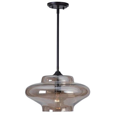 "Kenroy Sanborn Hanging Pendant Lamp, 1-Light, 47""H, Amber Shade, Bronze Base"