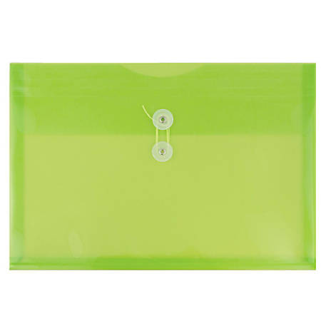 """JAM Paper® Plastic Booklet Envelopes With Button & String Closure, Legal-Size, 9 3/4"""" x 14 1/2"""", Lime Green, Pack Of 12"""