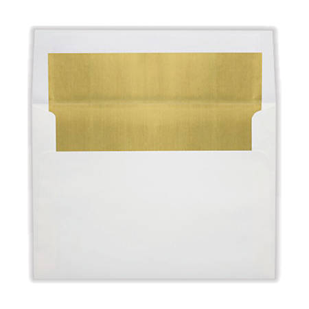 "LUX Invitation Envelopes With Peel & Press Closure, A8, 5 1/2"" x 8 1/8"", Gold/White, Pack Of 50"