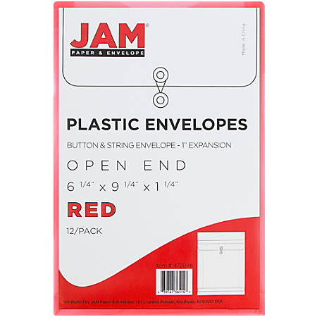 "JAM Paper® Open-End Plastic Envelopes, 6 1/4"" x 9 1/4"", Red, Pack Of 12"
