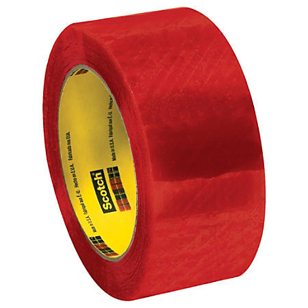 "3M™ 3199 Security Tape, 2"" x 110 Yd., Clear/Red, Case Of 6"