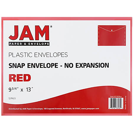 "JAM Paper® Booklet Plastic Envelopes With Button-Snap Closure, Letter-Size, 9 3/4"" x 13"", Red, Pack Of 12"