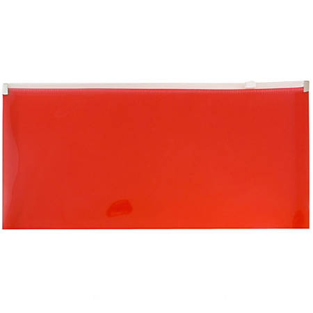 """JAM Paper® Plastic Envelopes With Zipper Closure, #10, 5 1/4"""" x 10"""", Red, Pack Of 12"""