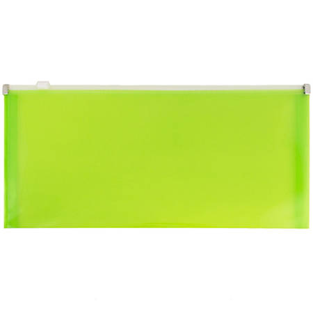 "JAM Paper® Plastic Envelopes With Zipper Closure, #10, 5 1/4"" x 10"", Lime Green, Pack Of 12"