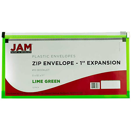 """JAM Paper® Plastic Envelopes With Zipper Closure, #10, 5 1/4"""" x 10"""", Lime Green, Pack Of 12"""