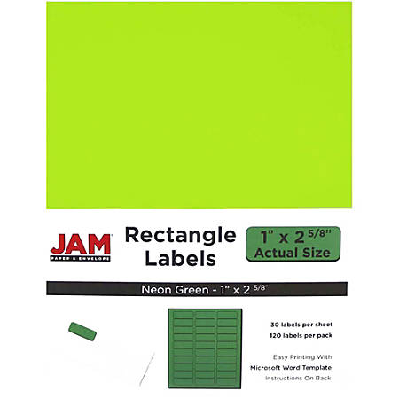 """JAM Paper® Mailing Address Labels, 1"""" x 2-5/8"""", Neon Green, 30 Labels Per Sheet, Pack Of 4 Sheets"""