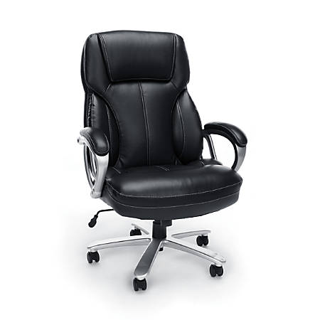 Stupendous Ofm Essentials Big Tall Leather High Back Chair Black Silver Item 235580 Inzonedesignstudio Interior Chair Design Inzonedesignstudiocom