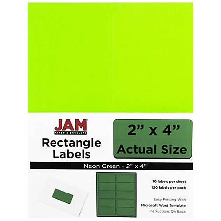 "JAM Paper® Rectangular Mailing Address Labels, 354328017, 2"" x 4"", Neon Green, Pack Of 120"