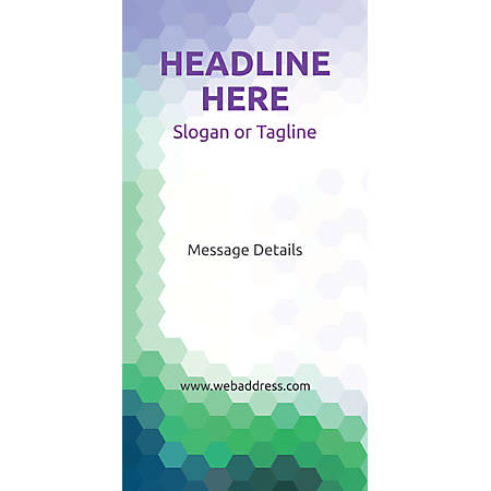 Custom Vertical Display Banner, Purple/Green Honeycomb