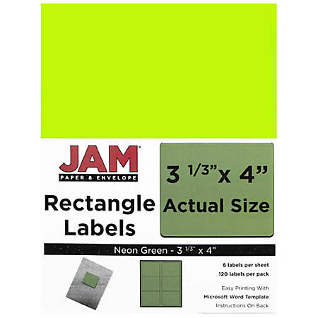 """JAM Paper® Mailing Address Labels, 354328037, 4"""" x 3 5/16"""", Neon Green, Pack Of 120"""