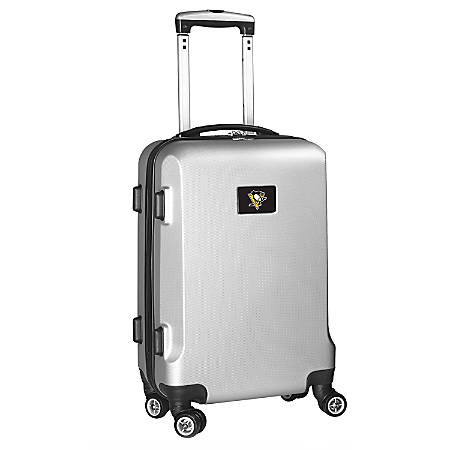 """Denco 2-In-1 Hard Case Rolling Carry-On Luggage, 21""""H x 13""""W x 9""""D, Pittsburgh Penguins, Silver"""
