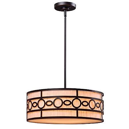 "Kenroy Vista 3-Light Hanging Pendant, 7""H, Cream Shade/Oil-Rubbed Bronze Finish"