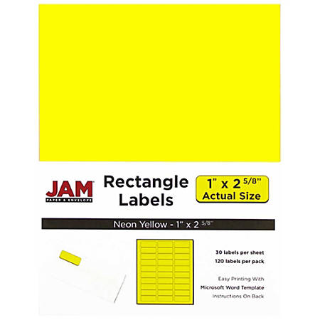 "JAM Paper® Mailing Address Labels, 1"" x 2 5/8"", Neon Yellow, Pack Of 120"