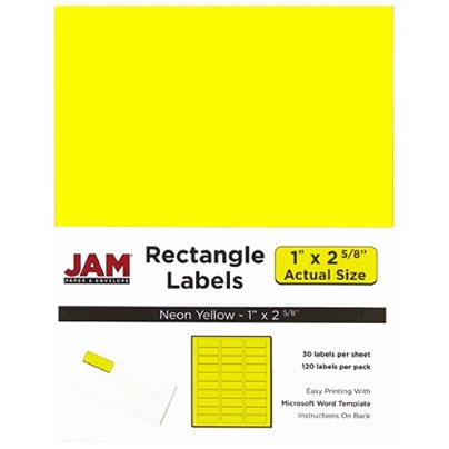 jam paper mailing address labels 354328008 1 x 2 58 neon yellow pack