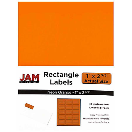 "JAM Paper® Mailing Address Labels, 354328014, 1"" x 2 5/8"", Neon Orange, Pack Of 120"