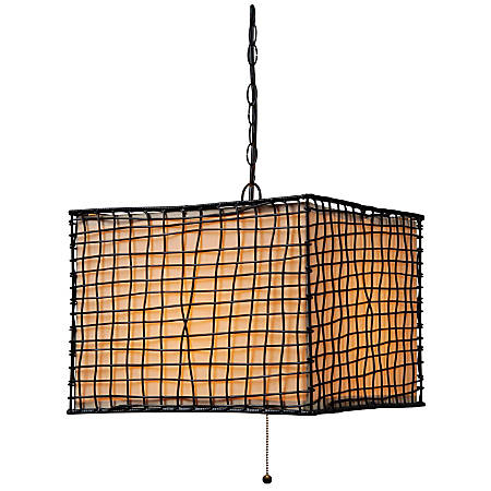"Kenroy Home Trellis Outdoor Hanging Pendant, 16""H, Cream Shade/Bronze Finish"