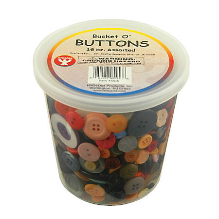 Hygloss Assorted Buttons, 16 Oz, Assorted Colors, Pack Of 3