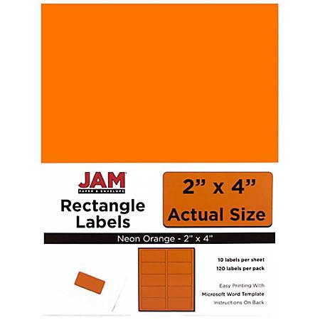"JAM Paper® Rectangular Mailing Address Labels, 2"" x 4"", Neon Orange, Pack Of 120"