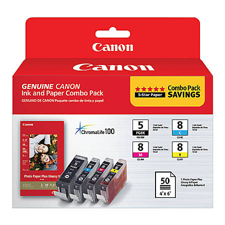 Canon PGI-5/CLI-8/PP-201 ChromaLife 100 Black/Cyan/Magenta/Yellow Ink Cartridges And Photo Paper Combo Pack (0628B027)